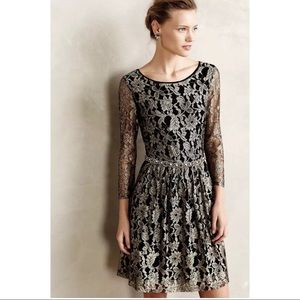 Anthropologie Maeve Black and Gold Lace Dress